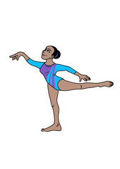 A latin gymnast in dancing position. Vector illustration