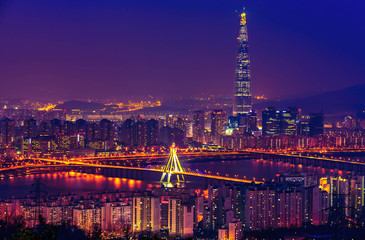Korea,Seoul city of lotte tower skyline at nigth.