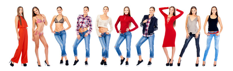 Collage blonde in various clothes. Full length portrait of young women wearing different clothes, isolated on white background