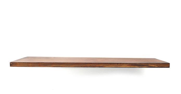 wooden shelf isolated on white