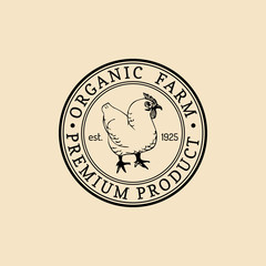 Vector retro farm fresh logotype. Organic premium quality products logo. Eco food sign. Vintage hand sketched hen icon.