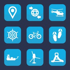 Set of 9 filled travel icons