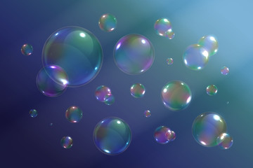 Vector set of isolated realistic soap bubbles on the blue background.