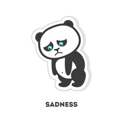 Isolated sad panda on white background. Cute sticker.