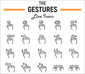 Touch gesture line icon set, touchscreen and hand , Web and mobile interface vector sketches, logo illustrations, linear pictograms package isolated on white background, eps 10.