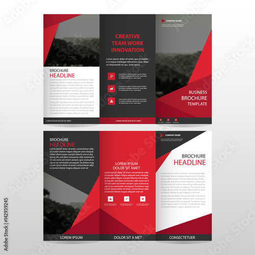 red triangle corporate business card name card template horizontal simple clean layout design template