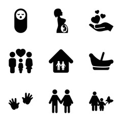 Set of 9 family filled icons