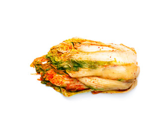 Korean  style salted cabbage Kimchi isolated on white