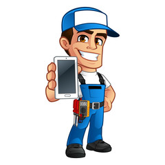 Electrician, he has a smartphone in his hand