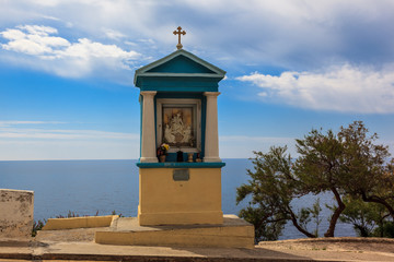 Chapel over the cliff of Blue Grotto. Malta island.