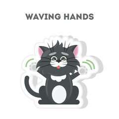 Cat waving hands. Isolated cute sticker on white background.