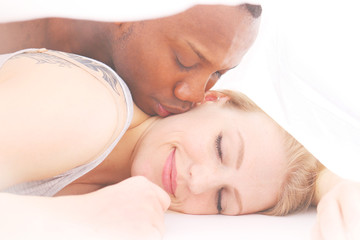Kissing Under The Blanket - Waking up with a kiss - Man kissing sleeping woman
