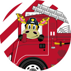 Cartoon Giraffe Firefighter - Firemen