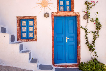 Detail view of traditional colorful greek doors and windows, Santorini