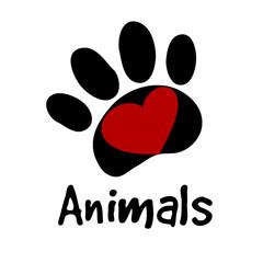 animals paw love icon