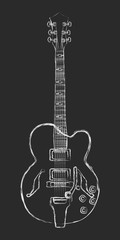 Chalk semi-acoustic guitar drawing