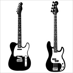 Set of isolated vector guitars
