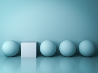 Stand out from the crowd and different creative idea concepts , One white square box standing among green spheres on green background in the row with reflections and shadows . 3D rendering.
