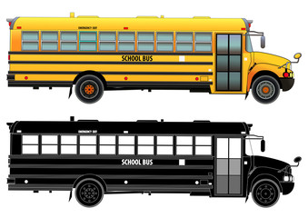 School bus, detailed vector illustration