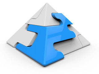 3D illustration - blue jigsaw pyramid