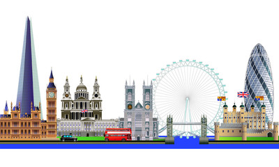 London city skyline abstract vector color illustration. Isolated