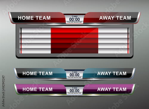 Scoreboard Template | Soccer Score Broadcast Graphics Template Vector Illustration Stock