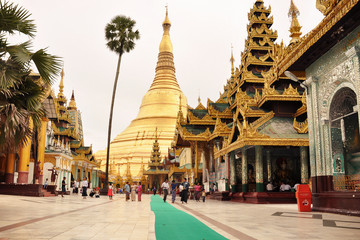 golden pagoda at yangon, myanmar, burma.