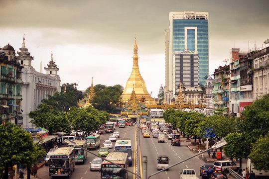Pagoda at Yangon, Myanmar, Burma