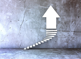 stairs and arrow for business growth and challenge