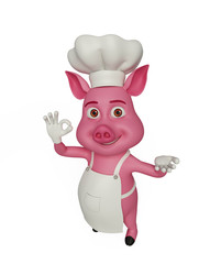 3d Chef Pig with best sign.