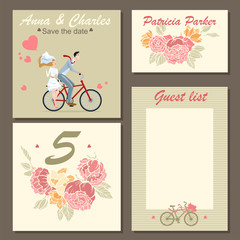 Set of wedding invitation cards and labels with a floral pattern and illustration of a couple on a bicycle. Templates
