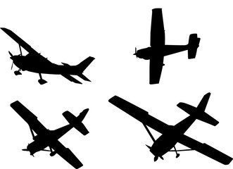 black isolated airplane silhouettes vector