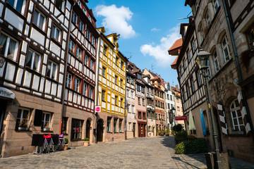 Weißgerbergasse mit Fachwerkhaus Fachwerkhäusern in Nürnberg