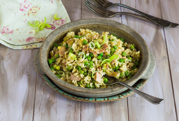 Bacon, peas and leek risotto
