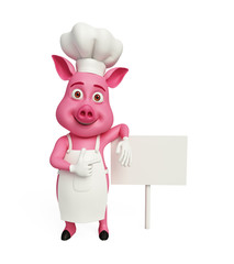 3d Chef Pig with white board.