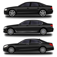 realistic car. Long sedan. set