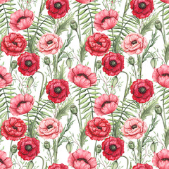 Seamless Pattern of Watercolor Poppies and Leaves