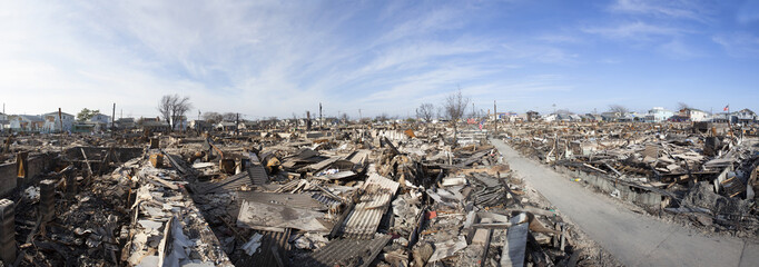 NEW YORK -November12: The fire destroyed around 100 houses during Hurricane Sandy in the flooded neighborhood at Breezy Point in Far Rockaway area  on October 29; 2012 in New York City; NY Wall mural