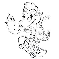 Coloring book  dragon skater. Cartoon style. Clip art for children.