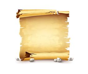 Paper scroll, old anicent manuscript, scrolled document script