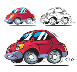 Funny cartoon car. Isolated. Colored, outline and colored with stroke vector illustration.