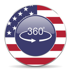 Panorama 360 usa design web american round internet icon with shadow on white background.