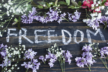 Word Freedom with Spring Flowers