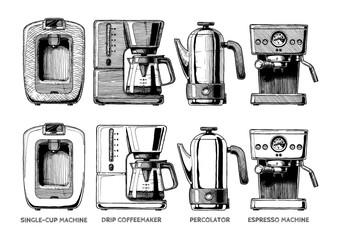 set of coffee machines