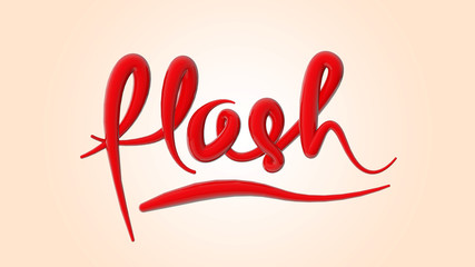 Hand lettering, modern text style, cursive logo, 3D Rendering