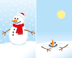 Happy Snowman wearing Red Hat and Scarf Melting in Sunshine