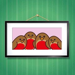 Robin Family in Picture Frame