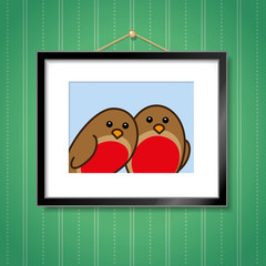 Two Robins in Picture Frame