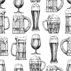 seamless pattern with different beer glasses and mugs