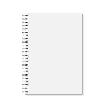 Vector realistic closed notebook. Vertical blank copybook with metallic silver spiral. Template (mock up) of organizer or diary isolated.
